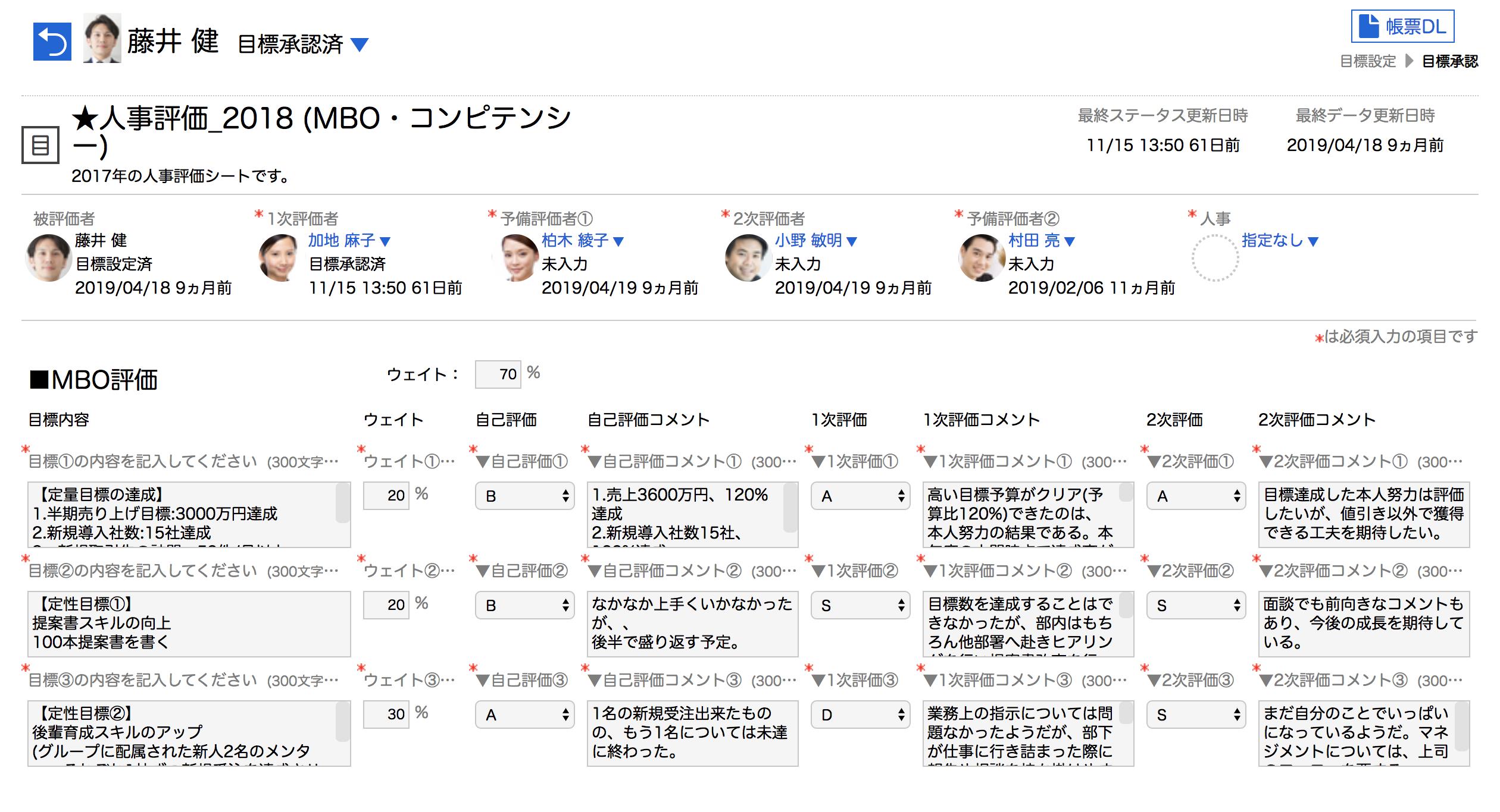 ▲SMART REVIEWの画面イメージ。あらゆる評価制度をドラッグ&ドロップで自由自在に再現できます。(※画像はサンプルです)