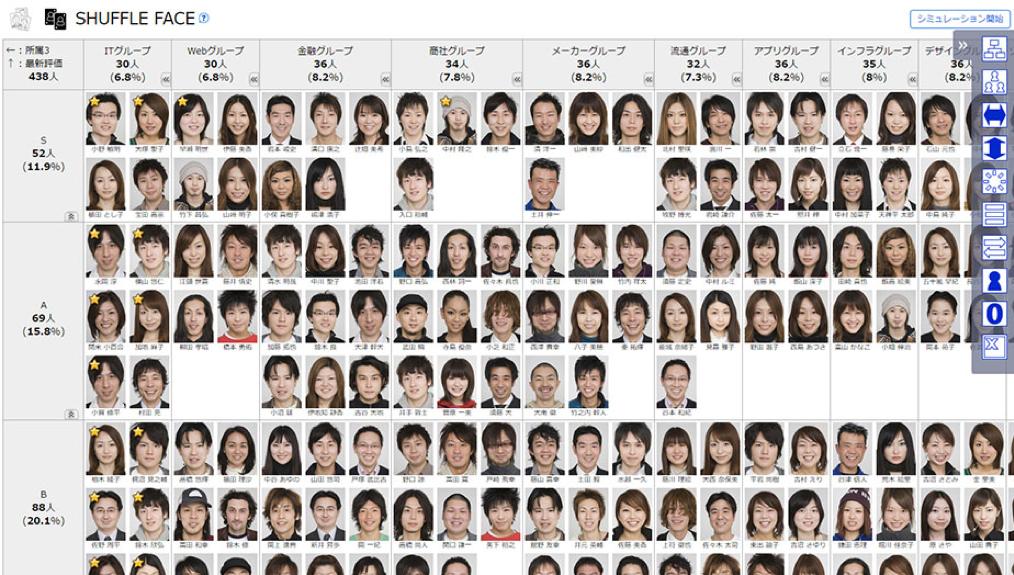 ▲SHUFFLE FACEの画面イメージ。縦軸・横軸を自分の知りたい切り口で自由に設定でき、必要な時に必要な視点で組織をマトリクス分析できます(※画像はサンプルです)。