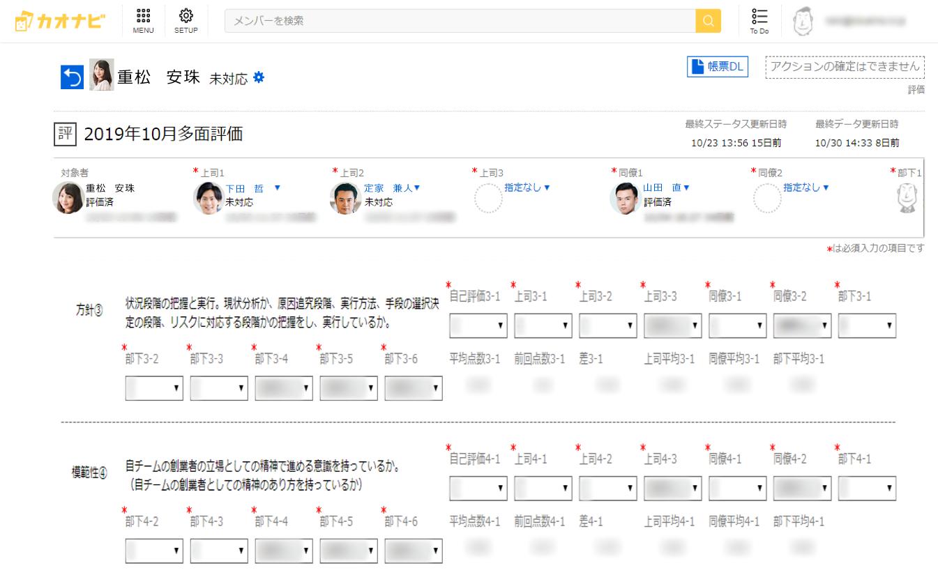 ▲チュチュアンナのカオナビ使用画面【SMART REVIEW】 (※データは全て一例です。実際の社員情報や使用データとは関係がありません)