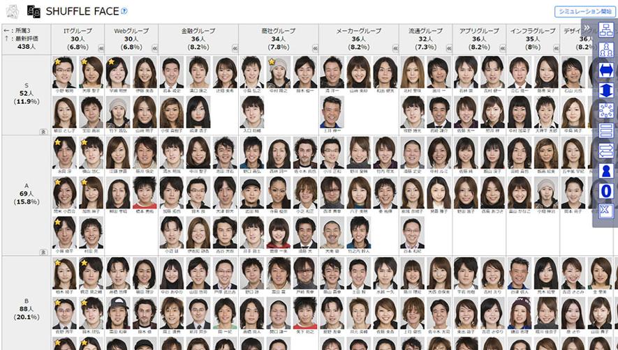 ▲SHUFFLE FACEの画面イメージ。縦軸・横軸を自分の知りたい切り口で自由に設定でき、必要な時に必要な視点で組織をマトリクス分析できます(※画像はサンプルです)